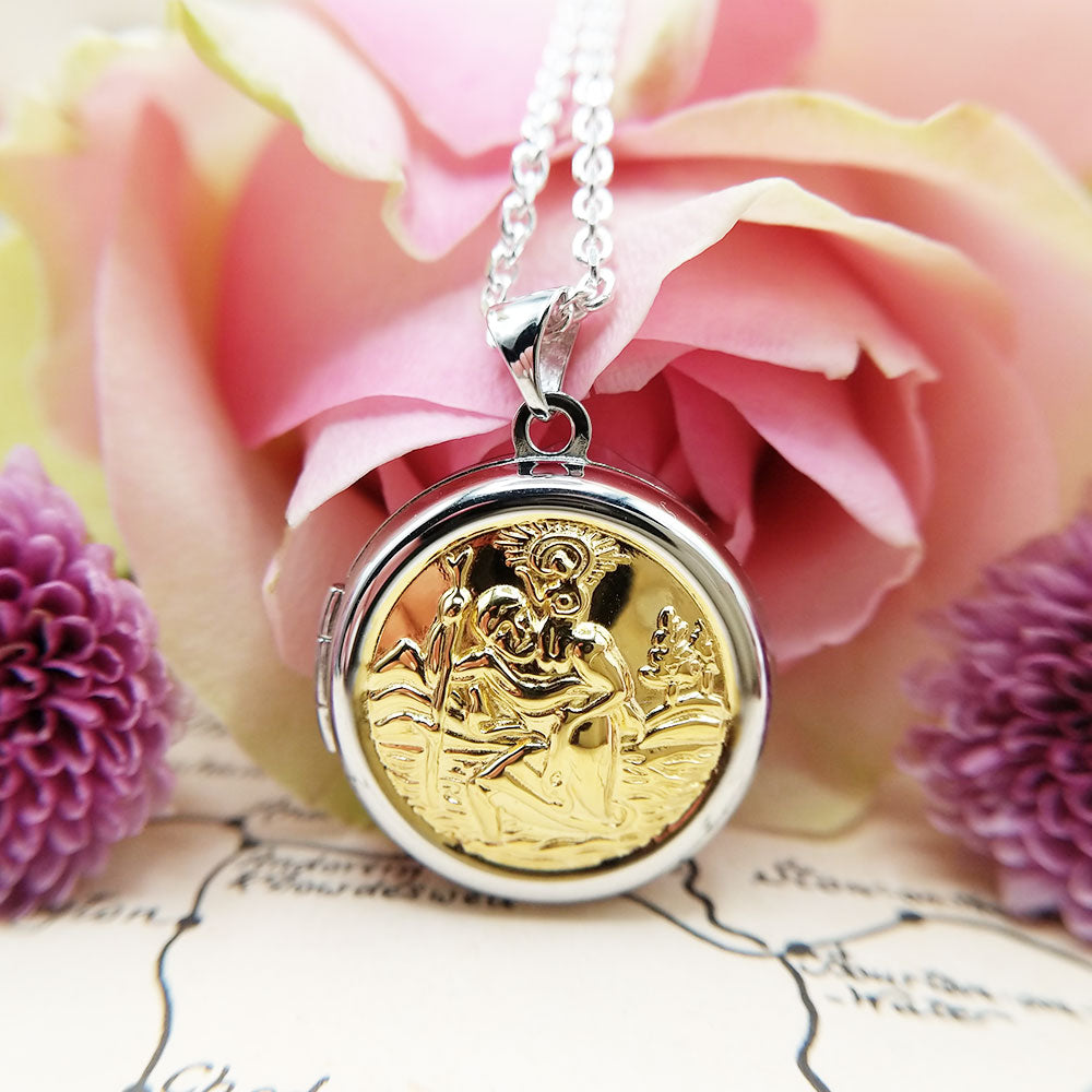 st christopher locket necklace