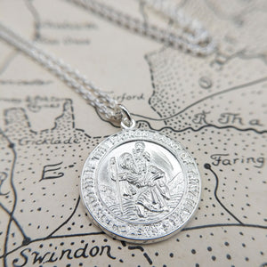 men's solid silver st christoper medal