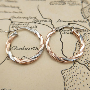 rose and white gold hoop earrings