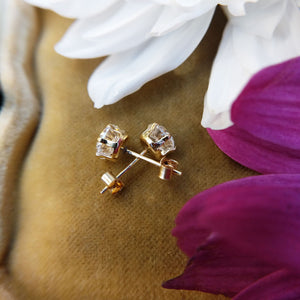women's stud earrings with claw set CZ