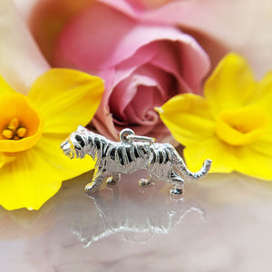 solid silver tiger charm with hallmark