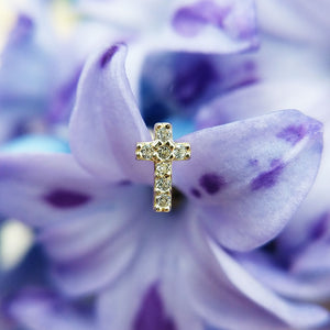 dainty cross helix earring with cz