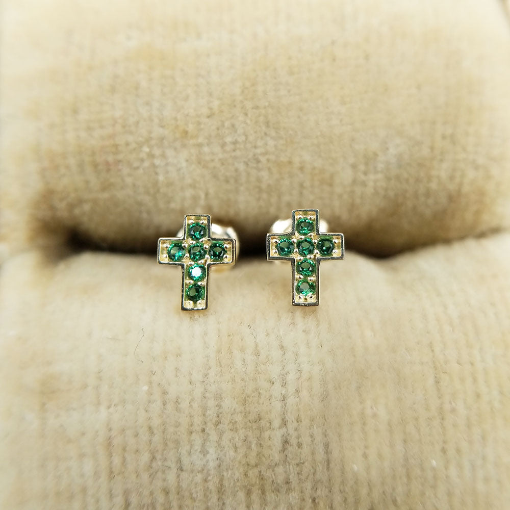 tiny emerald cross earrings