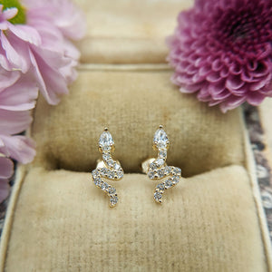 cz serpent stud earrings