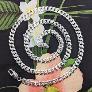 silver cuban necklace in 20 22 24 26 28 30 inch lengths