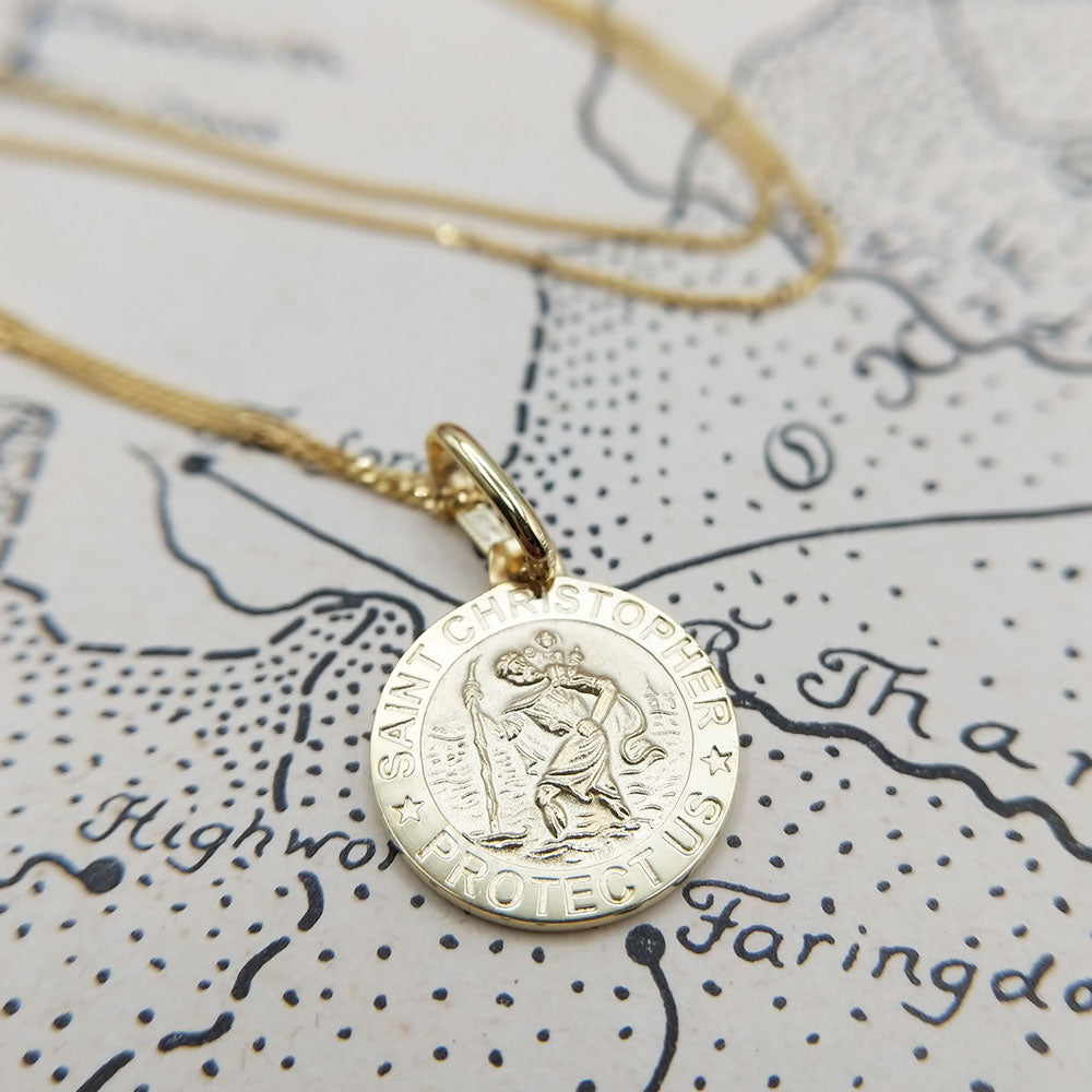 children's gold st christopher necklace