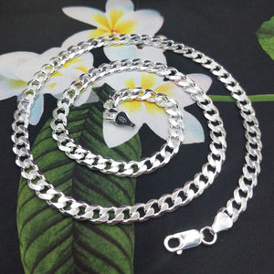 another view of silver curb chain necklace