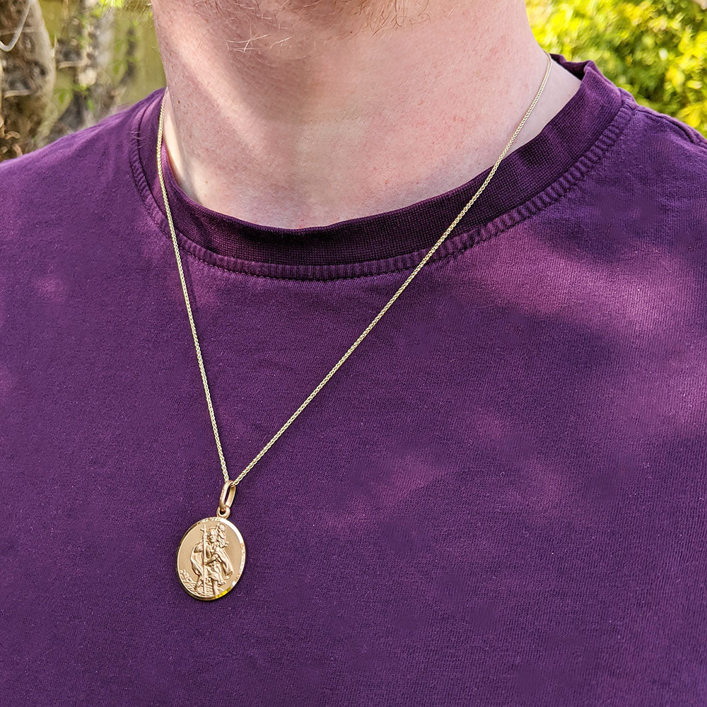 men's solid gold st christopher medal necklace