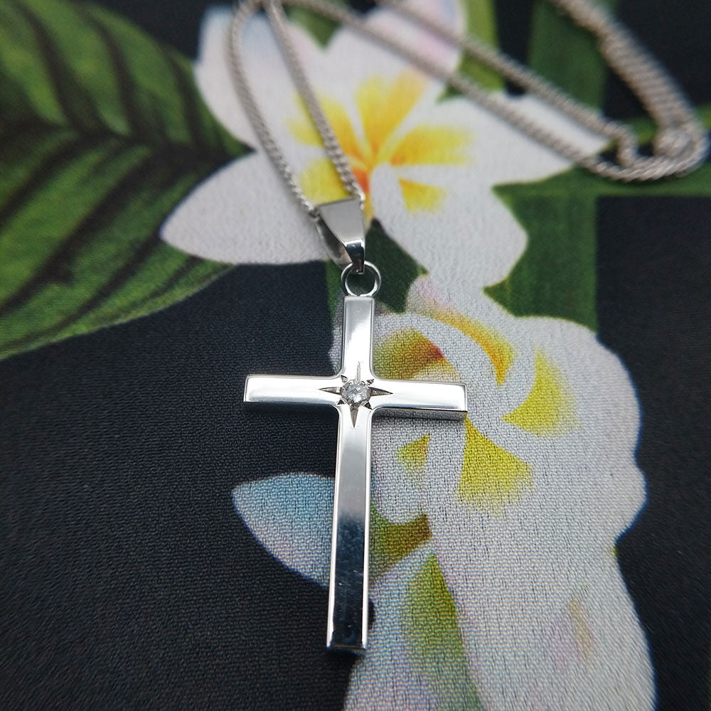 white gold cross set with real diamond