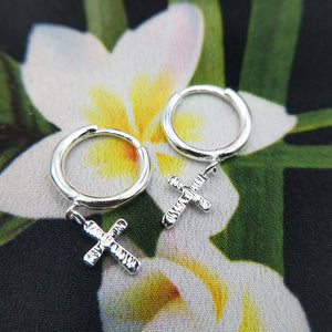 silver cross huggle earrings