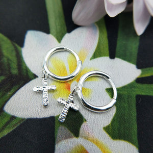 ladies silver huggie earrings