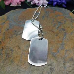 another view of men's silver dog tag necklace