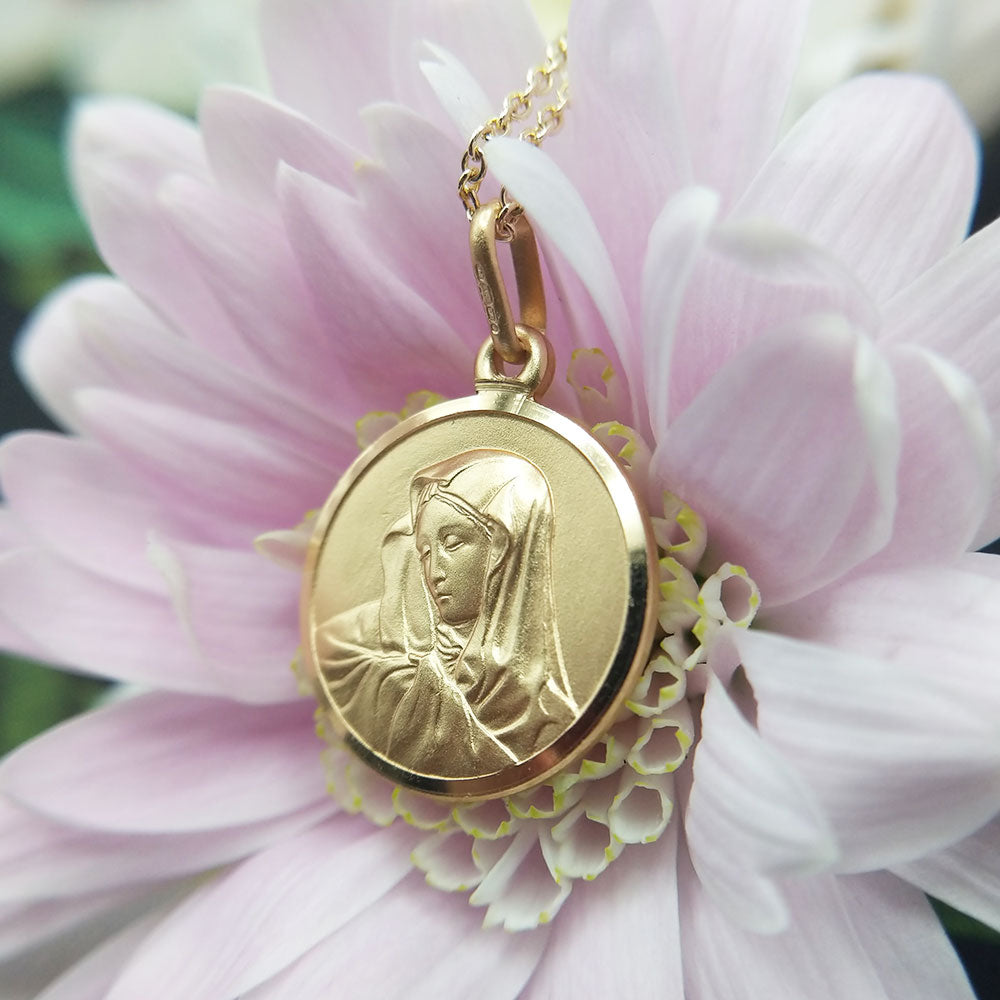 solid gold virgin mary medal necklace