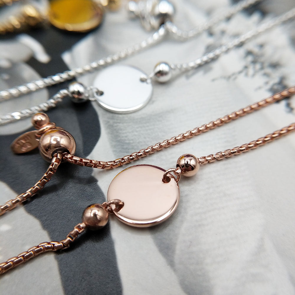 women's disc bracelet in silver, yellow or rose gold