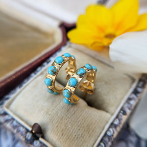 gold plated turquoise hoops