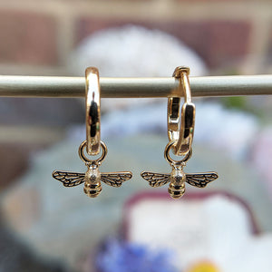 gold bee huggie earrings