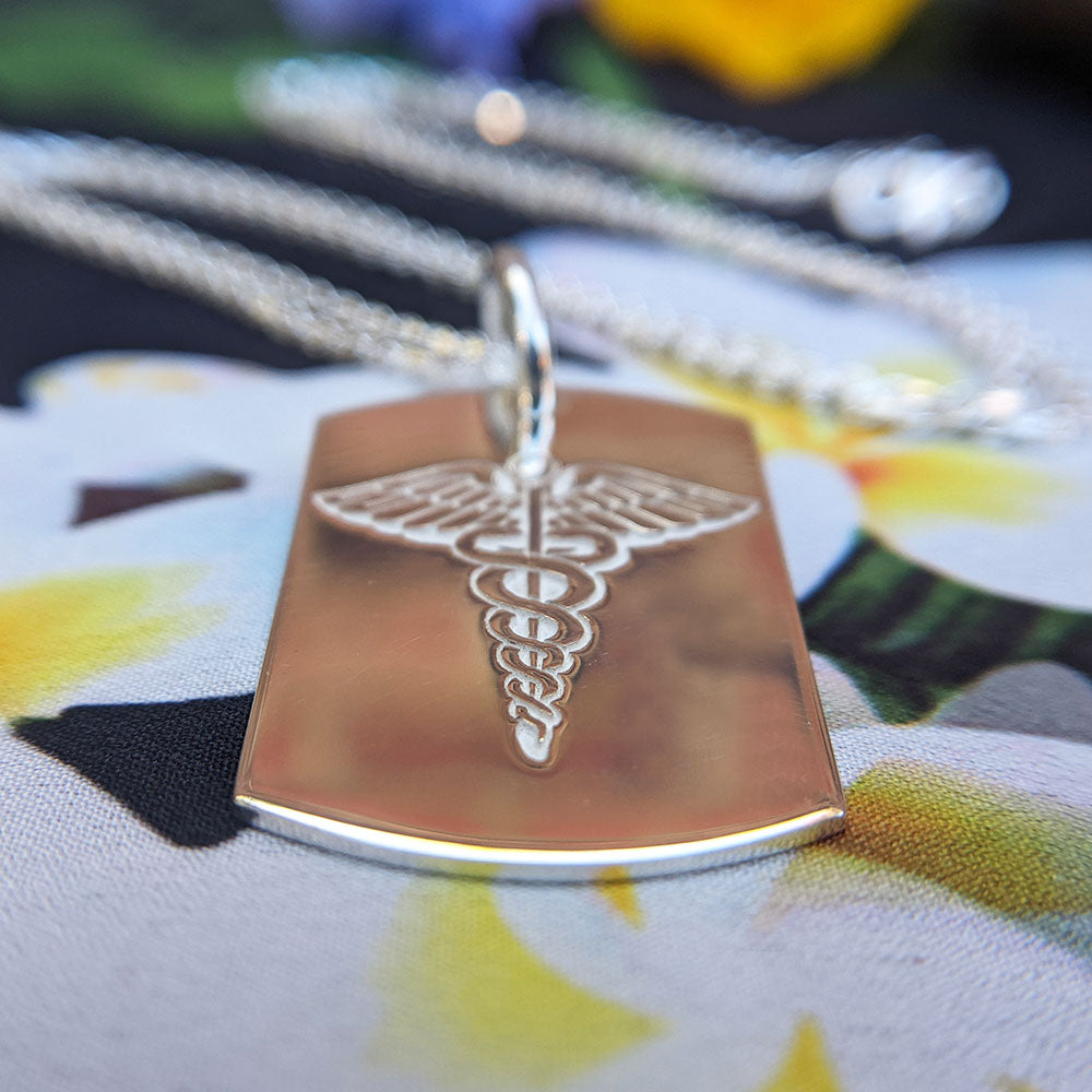medical alert dog tag necklace in sterling silver