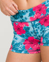 IAB Booty Shorts Hibiscus Love Teal