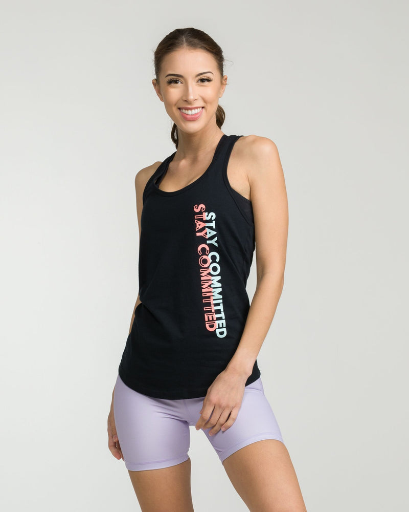 Stay Committed Racerback Tank Black