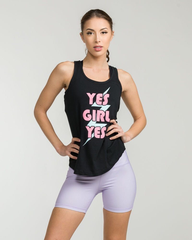 Yes Girl Racerback Tank Black