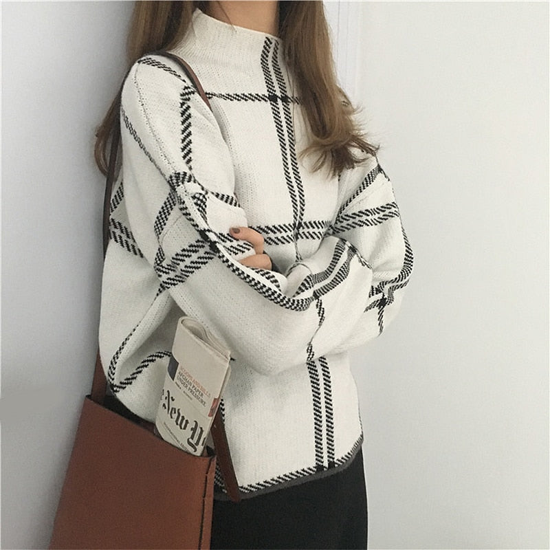 Sweaters Womens Knitted Turtleneck Long Sleeve Plaid Pullovers Autumn Winter Elegant Femme Checked Sweater Women Knitwear Mujer