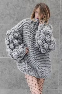 Cable Knit Sweater Women Autumn Winter Vintage Lazy Wind Knit Balls Lantern Sleeve Hand-knitted Chunky Mohair Sweater Pull femme