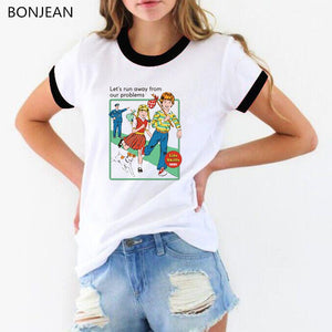 Let's run away women t shirt funny t shirts white harajuku summer graphic tee shirt femme vintage top Merry Christmas tshirt
