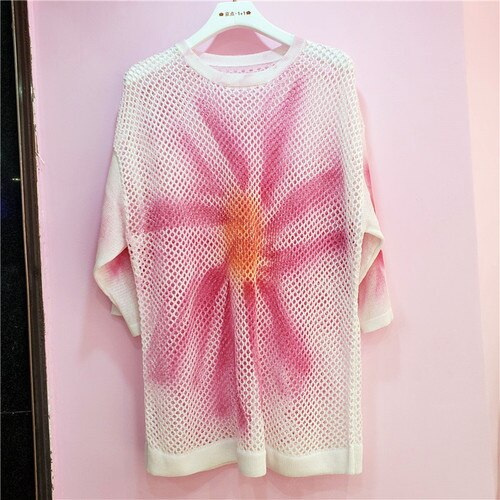 Summer Autumn Loose Long Sweater Pullover Woman Flowers Print Sweaters Ins Fashion Hollowed Bf Loose Sweater Pull Femme
