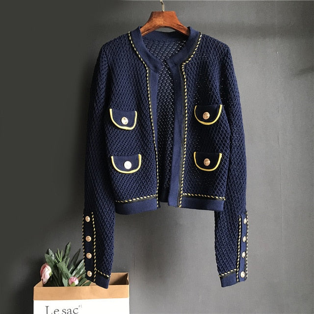 2020 autumn elegant round neck sweater cardigans women hollow out black short slim Pockets sweater coat outwear pull femme