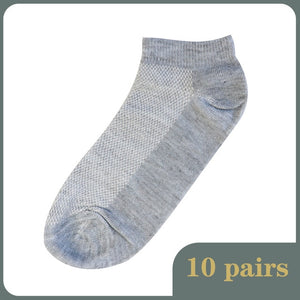 10Pairs Breathable Men's Socks Short Ankle Summer Elastic Men Solid Mesh High Quality Male Cotton Solid Soft Socks Hot Sale 2020