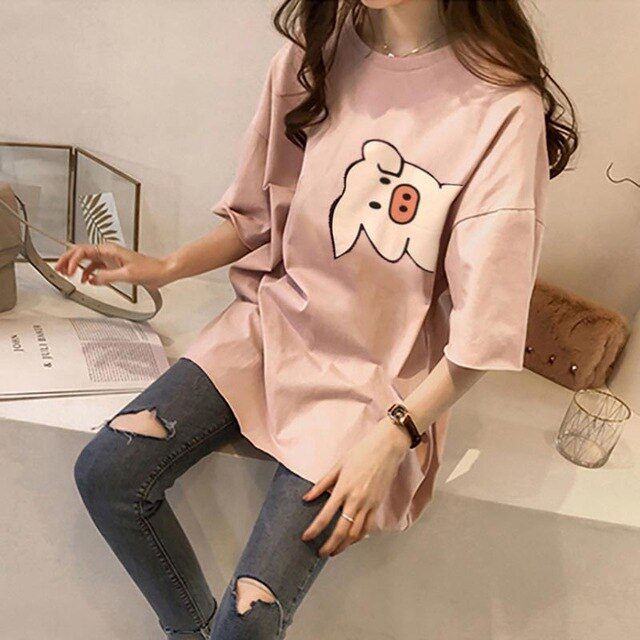 NEEDBO Women Tshirt Cartoon High Quality 2019 Plus Size Spandex Printed Pig Short Sleeve Long Casual Tee Shirt Femme Unique Tops