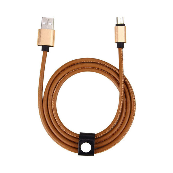 Leather Data Charger Cable (Micro USB Cable) - (Pack of 2)
