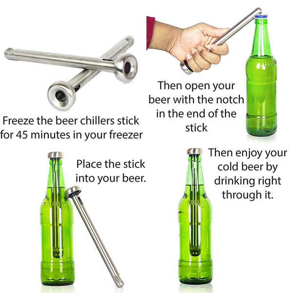Beer Bottle Chillers with Opener (2 pack)