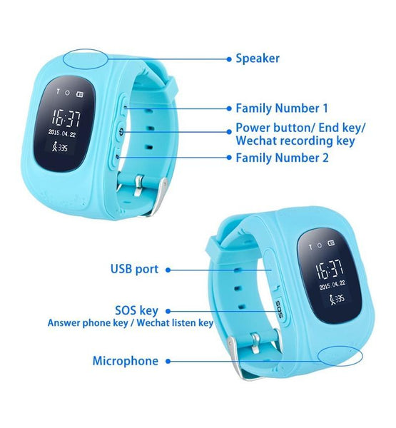 Kids Smart GPS Watch - S/WATCH: Q50 KIDS GPS BLUE