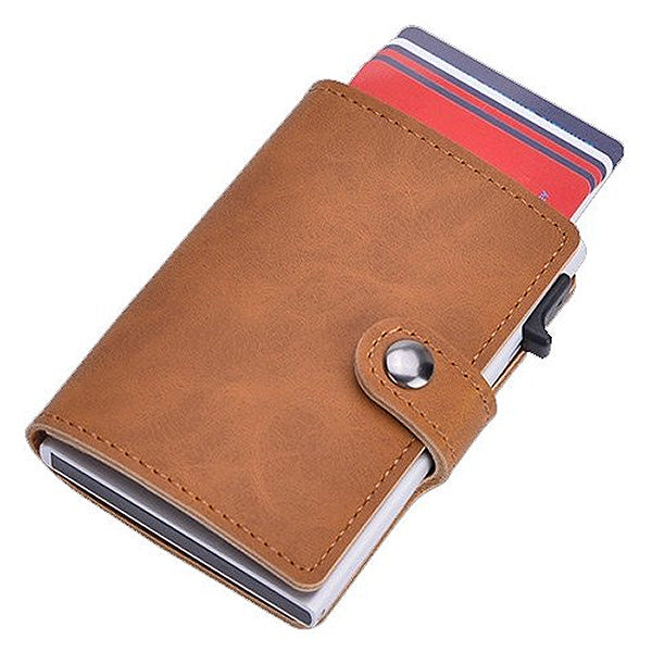 Slim Pop-Up Clip Leather Card Wallet (Brown)