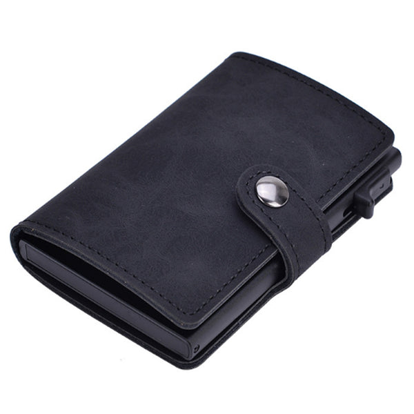 Slim Pop-Up Clip Leather Card Wallet (Black)