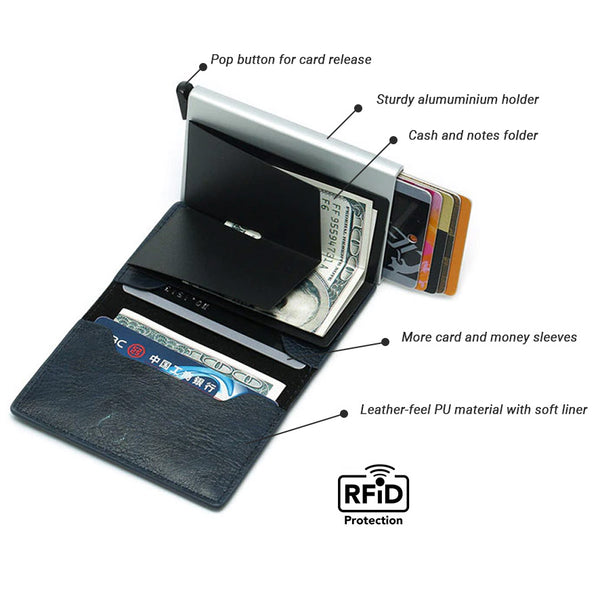 Slim Pop-Up Leather Card Wallet (Black)