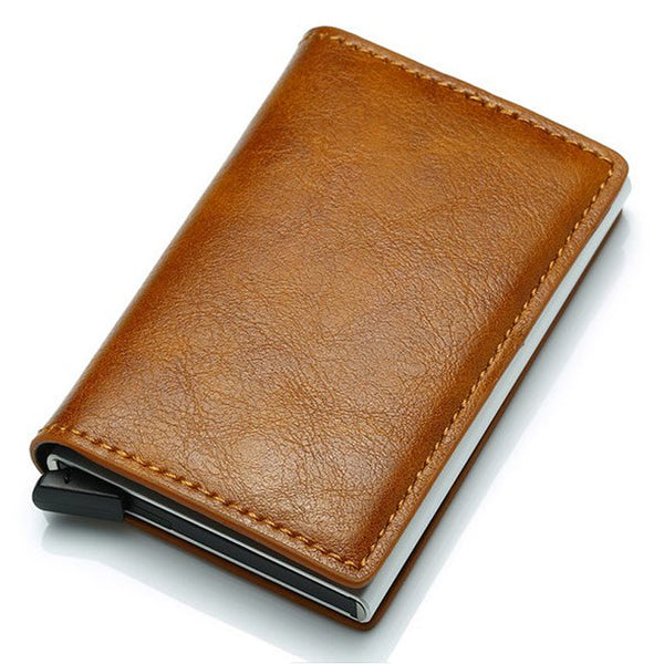 Slim Pop-Up Leather Card Wallet (Brown)