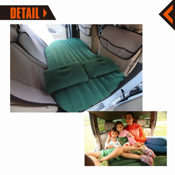 BACKSEAT AIRBED Mattress Car Travel 2 Free Pillows (COFFEE)