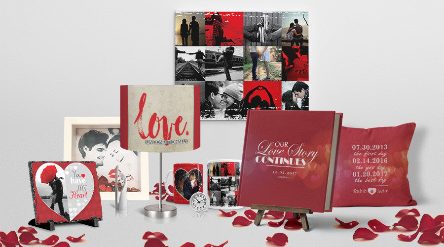 Valentine's Gift Bundle of Personalized Products including a photo book, canvas, cushion, lamp, mugs and frames.
