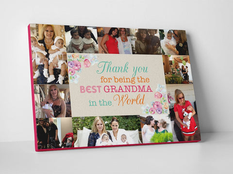 Best grandma in the world photo collage printed on canvas.