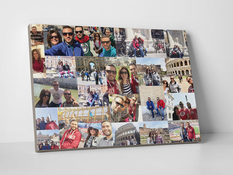 Family trip photo collage printed on rectangular canvas.