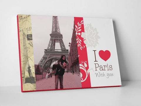 Couple's romantic photo in Paris designed and printed on canvas.