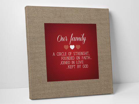 Personalized square canvas with text about family.