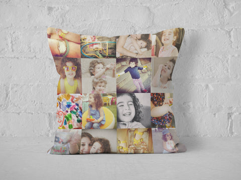 Baby photo collage printed on square cushion.