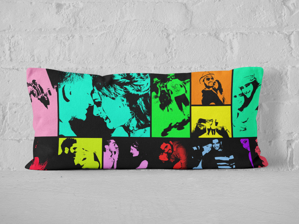Colorful pop art photo collage printed on fully personalized cushion - design 1.