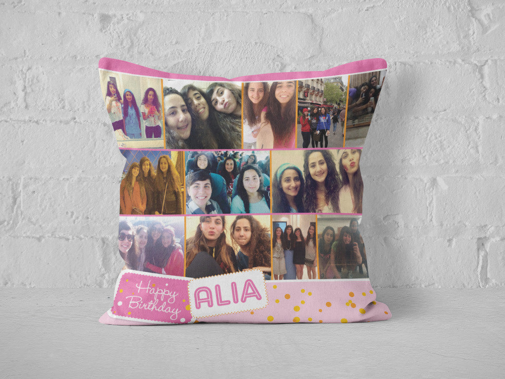 Happy birthday photo cushion - design 1