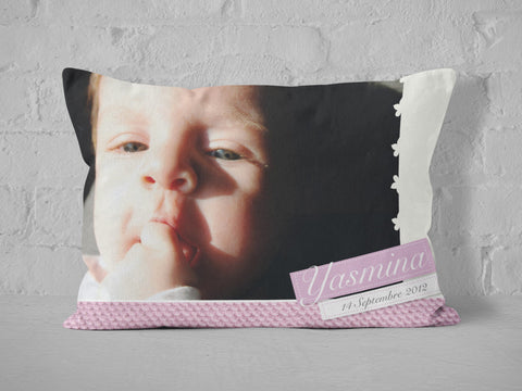Personalized newborn photo cushion - design 1.