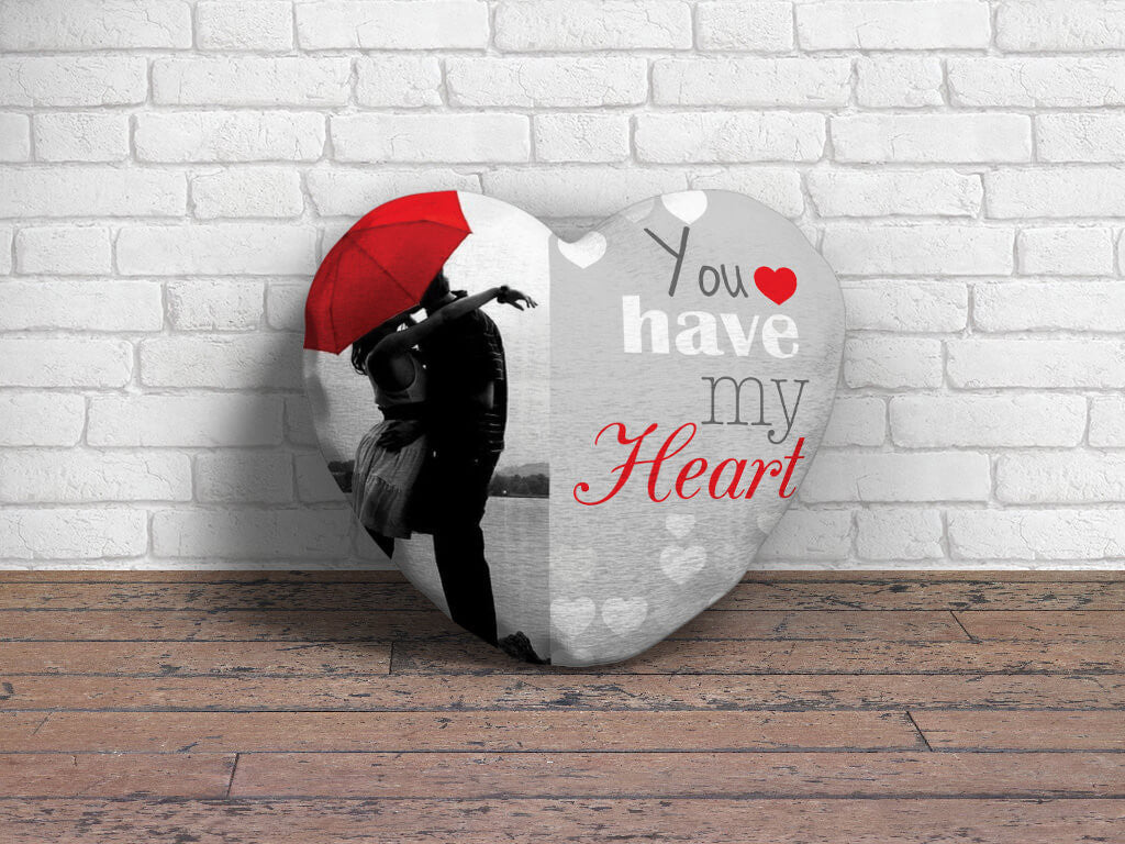 "Romantic Heart cushion - Couple photo with ""You have my heart"" text."