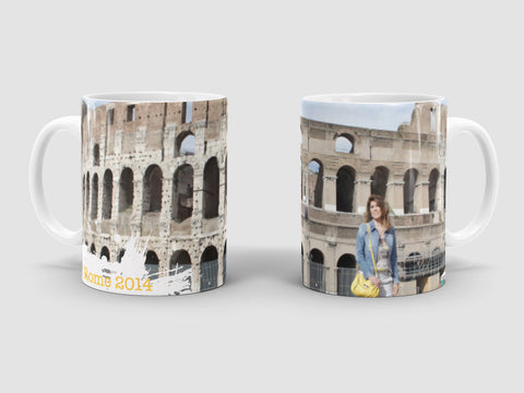 Italy travel photo onto personalized mug.